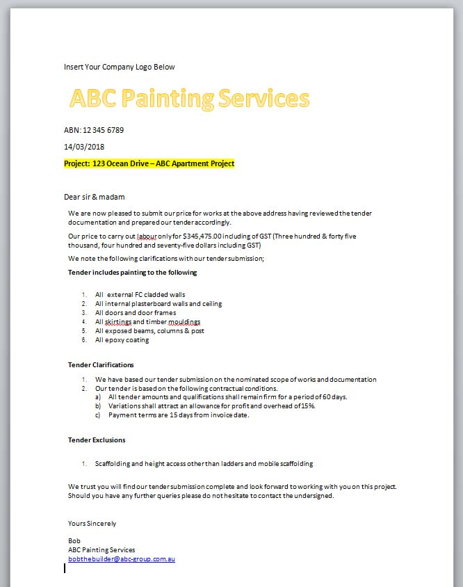 Painting estimate for tradesmen rapid estimate sample painting estimate letter of quotation spiritdancerdesigns Choice Image
