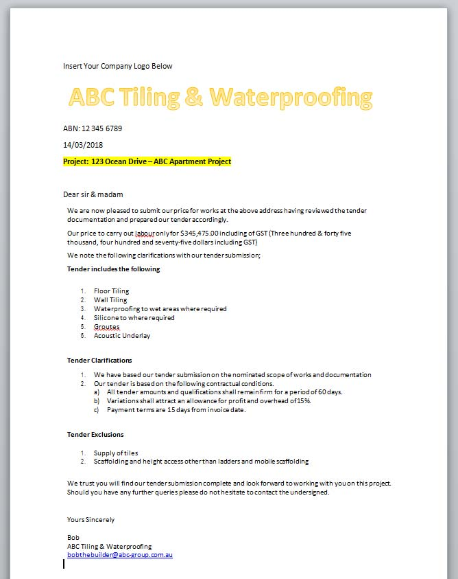 Tiling waterproofing estimate for tradesmen rapid estimate tiling and waterproofing sample letter of quotation thecheapjerseys Images